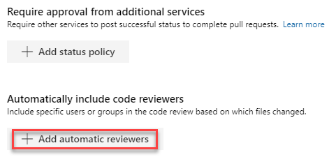 Branch policies add auto reviewers