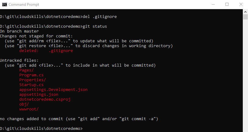 gitignore git status with obj and properties