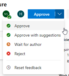 Pull request approve options
