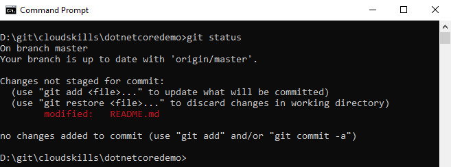 Git status with changes