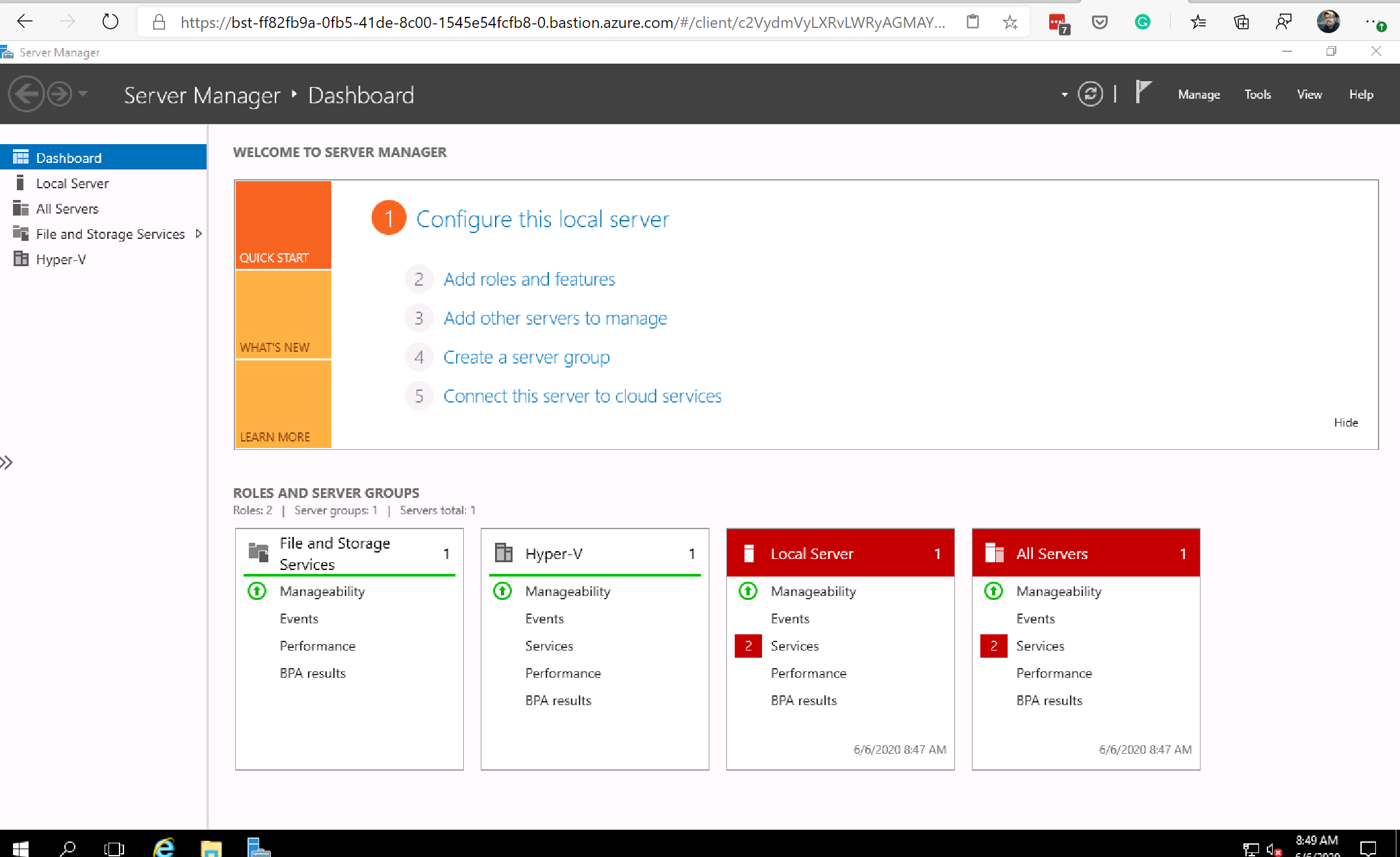 Connected to an Azure VM with Azure Bastion